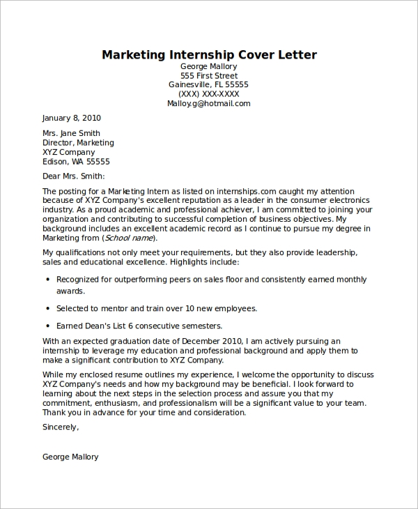 8+ Sample Internship Cover Letters