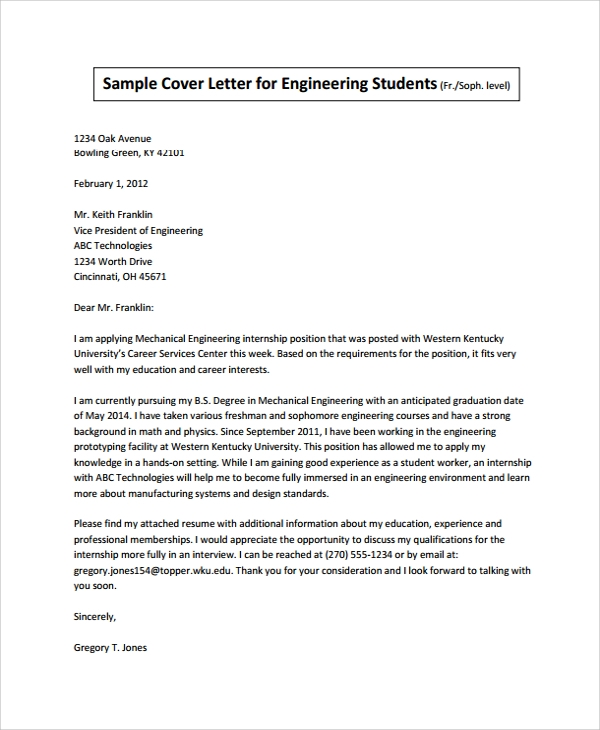 Sample Internship Cover Letter 7 Documents in PDF Word