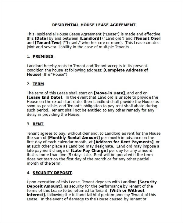 Sample Residential Lease Agreement   Documents In Pdf Word