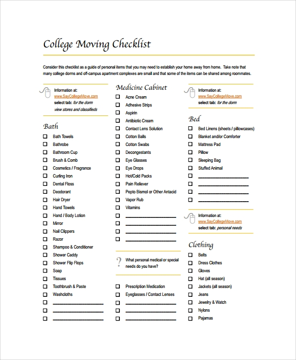 Sample college checklist