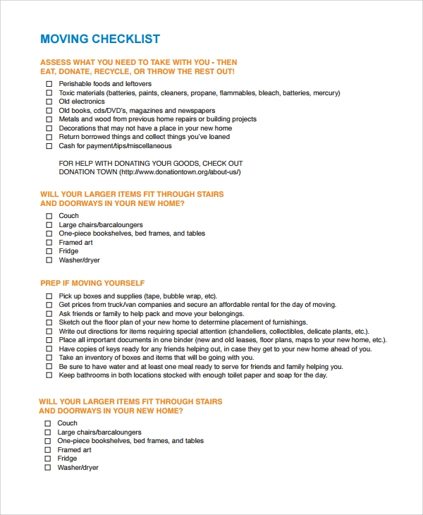 Sample Moving Checklist   Documents In Word Pdf