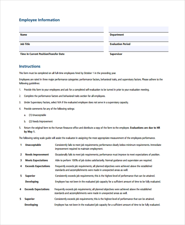 hr employee evaluation form