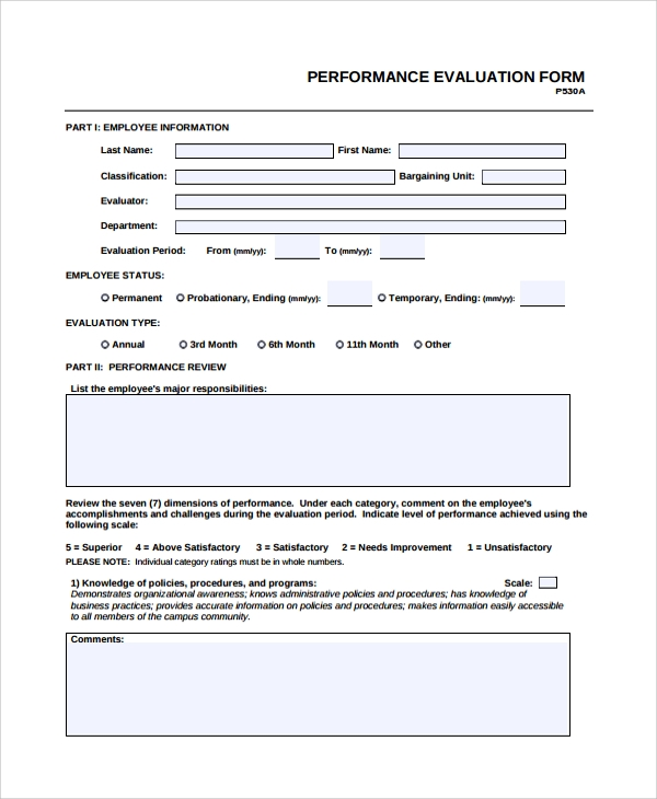 sample hr evaluation form