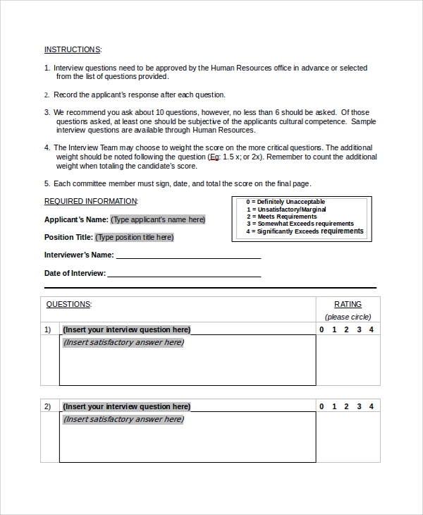 Sample Hr Evaluation Form   Documents In Pdf Word