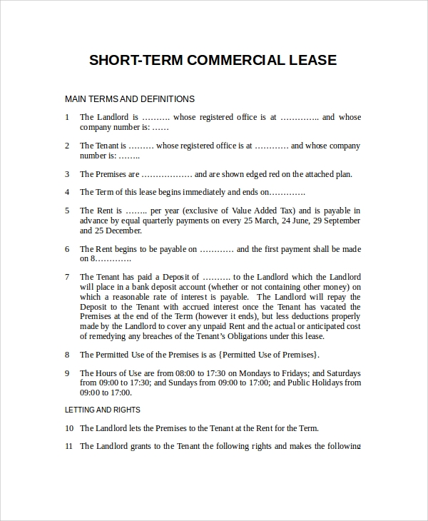 short term commercial rental agreement