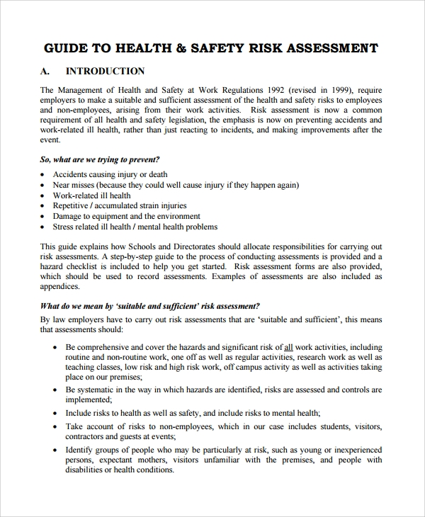 Sample Health  Safety Risk Assessment   Documents In Word Pdf