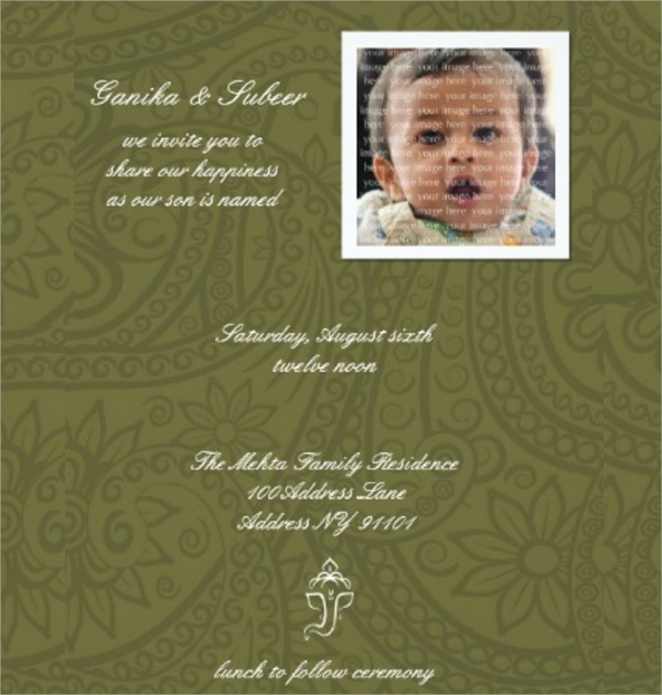 colorful naming ceremony invitation template
