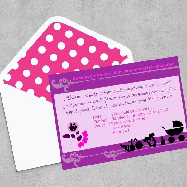 colorful baby ceremony invitation template