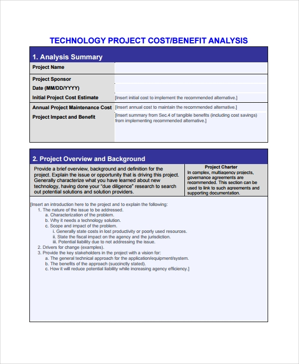 Project Cost Benefit Analysis Template  Cost Savings Analysis Template