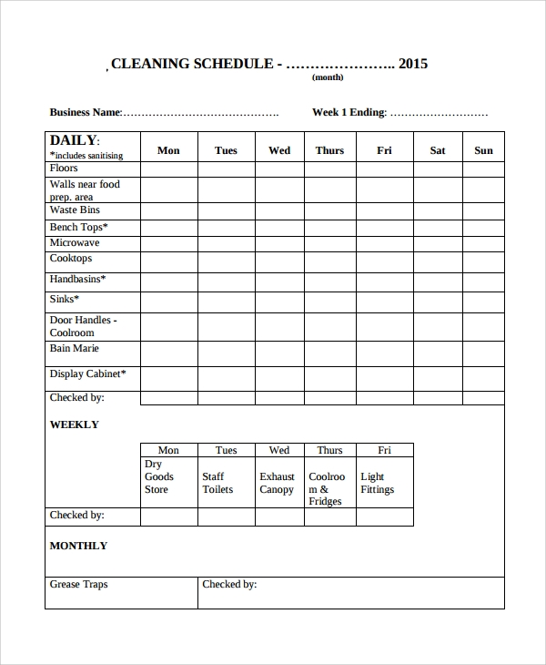 Elegant Cleaning Schedule Checklist