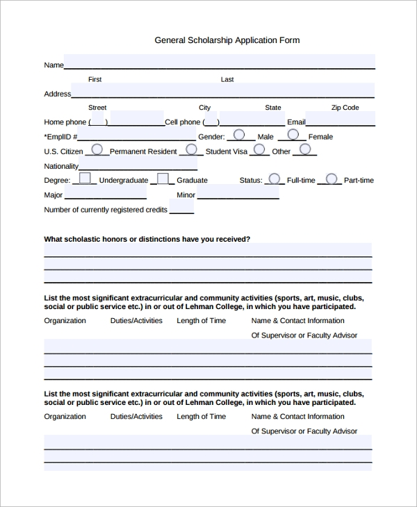 Sample Scholarship Application Form   Documents In Pdf Word