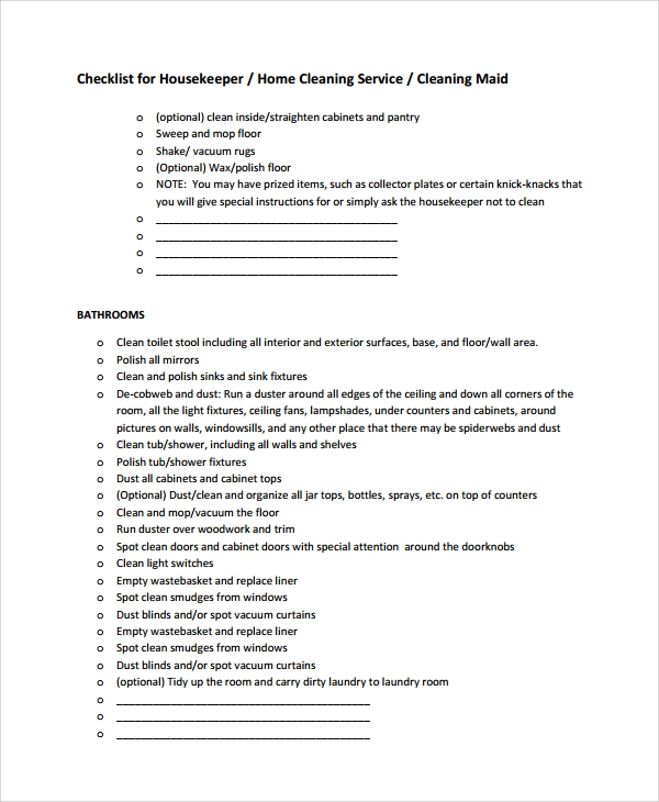cleaning service checklist