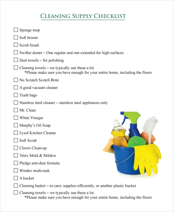 cleaning supply checklist