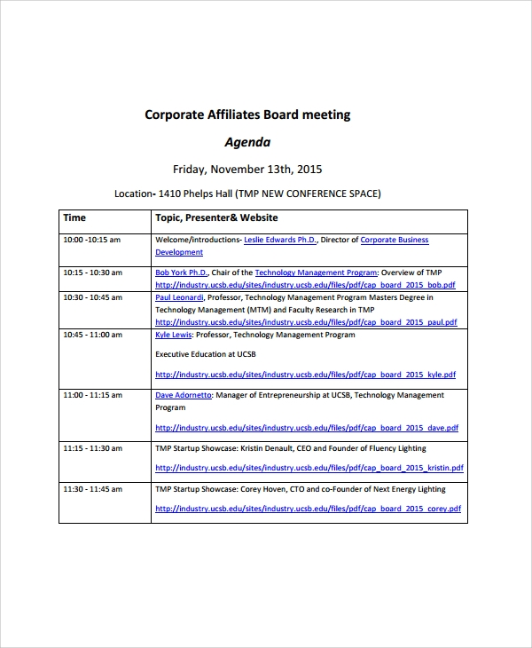 Sample Board Meeting Agenda   Documents In Pdf Word