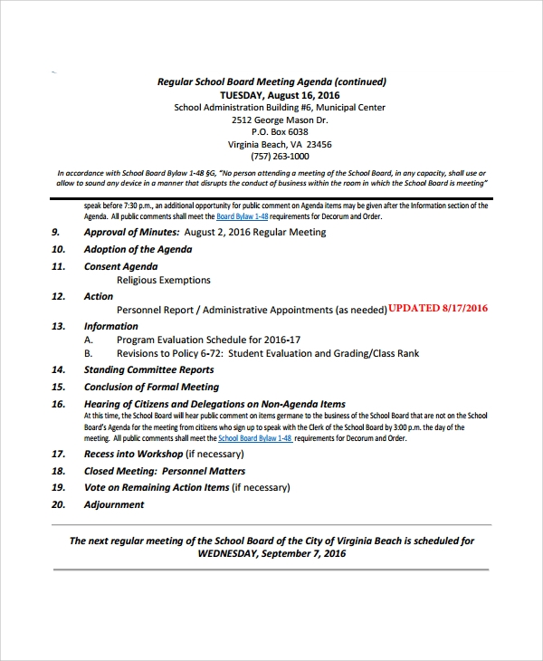 Nonprofit Board Meeting Agenda Template Nonprofit Board Meeting