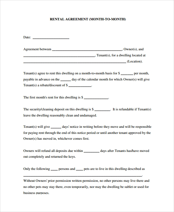 Sample Room Rental Agreement   Documents In Word Pdf