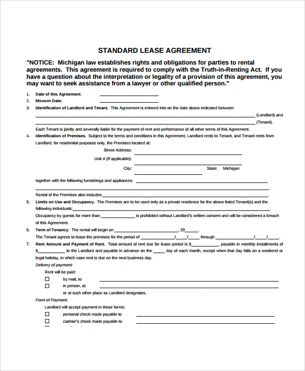 Sample Apartment Lease Agreement   Documents In Pdf Word