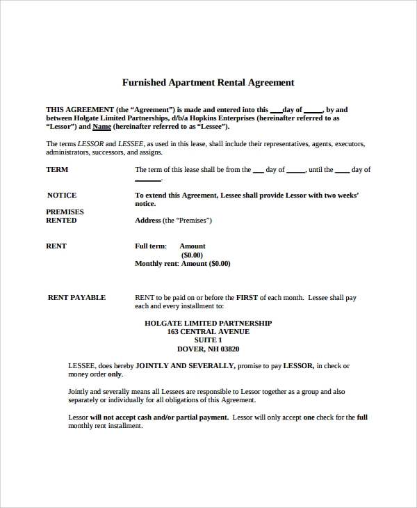 Sample Apartment Lease Agreement 7 Documents In PDF Word – Apartment Lease Agreements