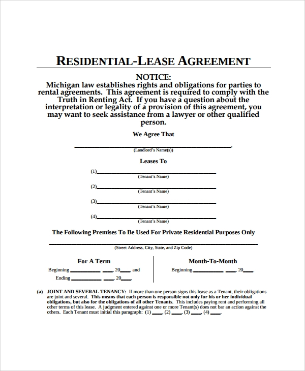 Sample apartment lease agreement 7 documents in pdf word residential apartment lease agreement platinumwayz