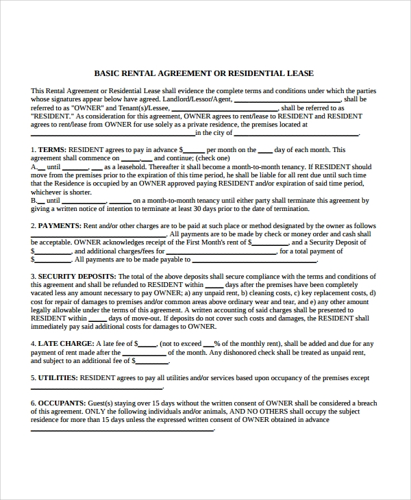 Sample Apartment Lease Agreement 7 Documents In PDF Word – Apartment Rental Agreement
