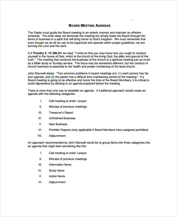 basic board meeting agenda