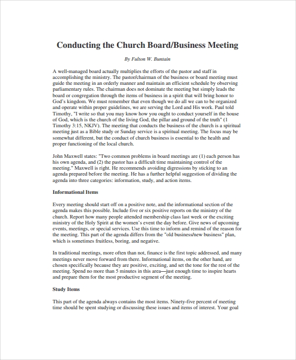 church board meeting agenda