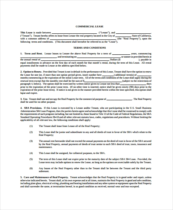 Sample Blank Lease Agreement   Documents In Pdf Word