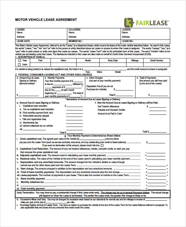 blank motor vehicle lease agreement
