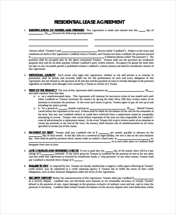 Blank Rental Lease Idaho Residential Rental Lease Agreement Form – Rental Lease Template Word