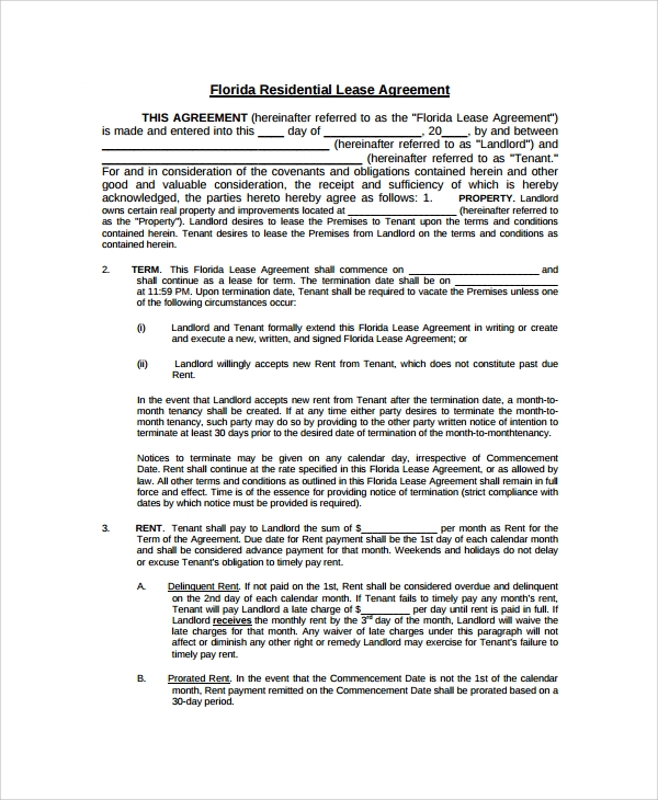 Sample Blank Lease Agreement 7 Documents in PDF Word – Sample Blank Lease Agreement