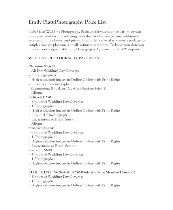 Sample Price List   Documents In Pdf Word