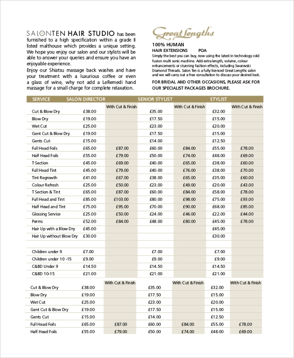 salon price list