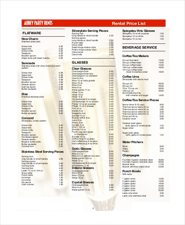 rental price list