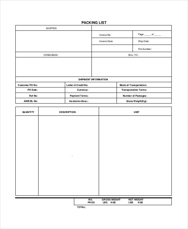 Sample Packing List   Documents In Word Pdf