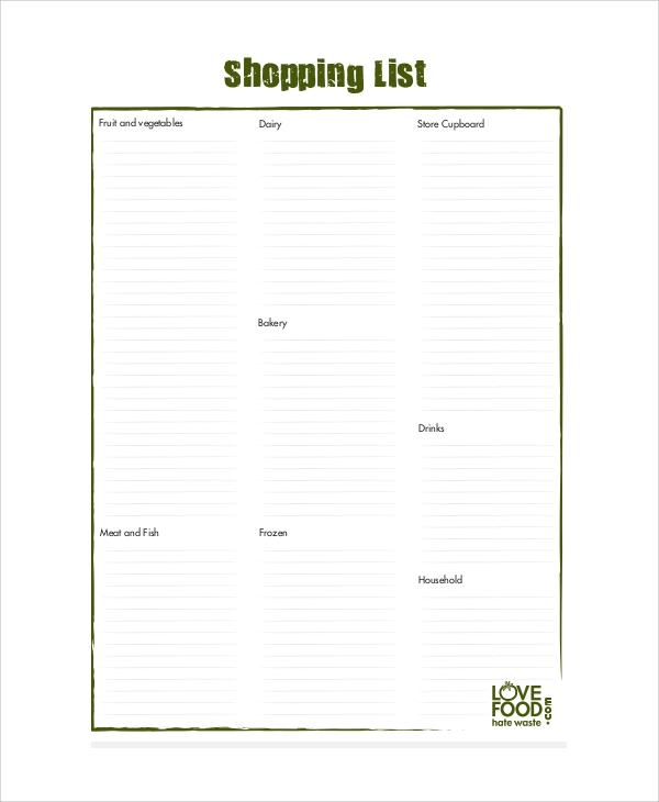 Sample Shopping List   Documents In Pdf Word