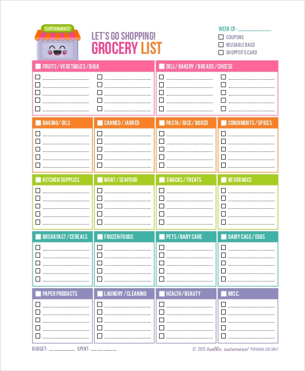 Shopping Grocery List  Grocery List Examples