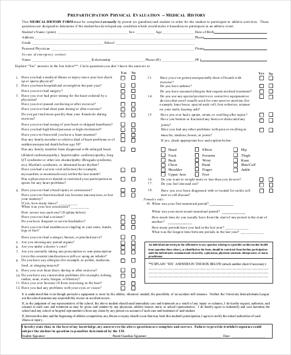 physical evaluation form