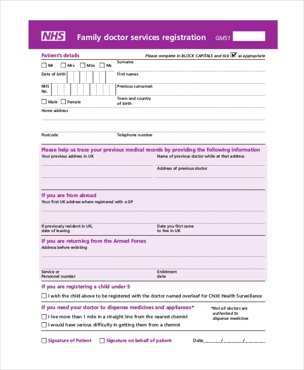 Sample Registration Form   Documents In Pdf Word