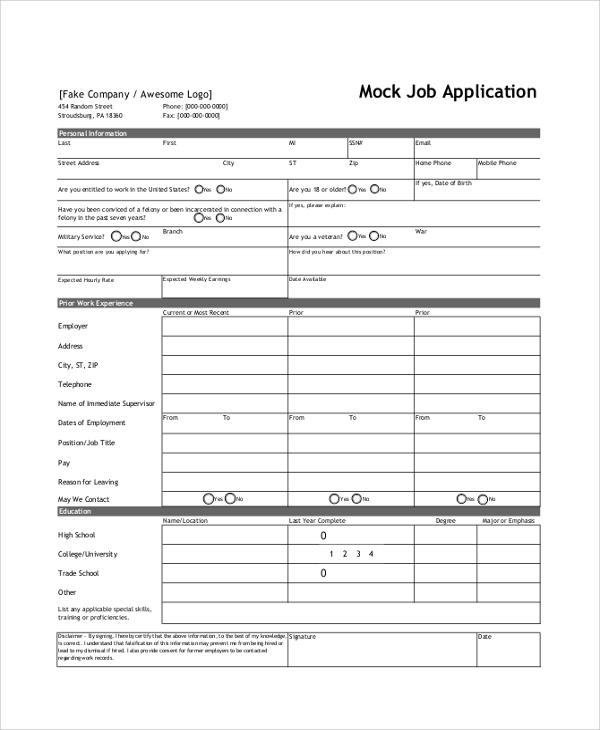 sample application form for job