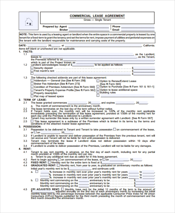 sample commercial lease agreement