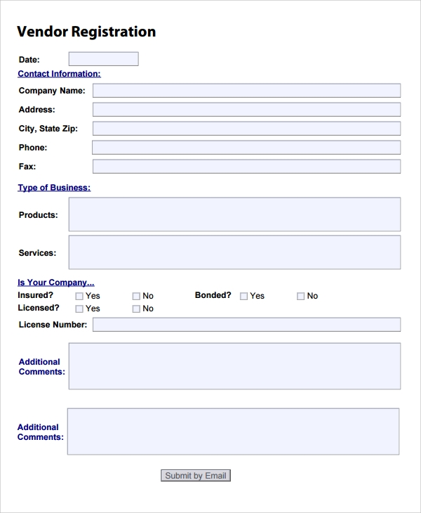 New-Vendor-Registration-Form Vendor Application Form Examples on swgc online, chinese visa, student year, social security, formal job, credit card, passport renewal, teaching job, blank job,