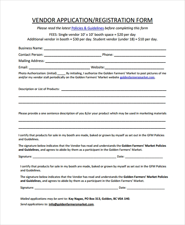 Sample Vendor Registration Form - 8+ Documents In Word, Pdf
