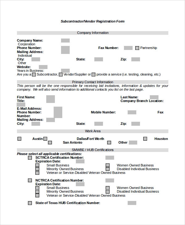 sample vendor registration form 8 documents in word pdf
