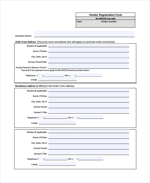 registration form – Vendor Registration Form