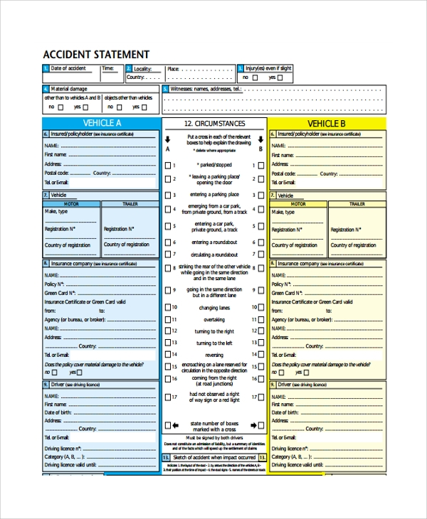 accident statement template