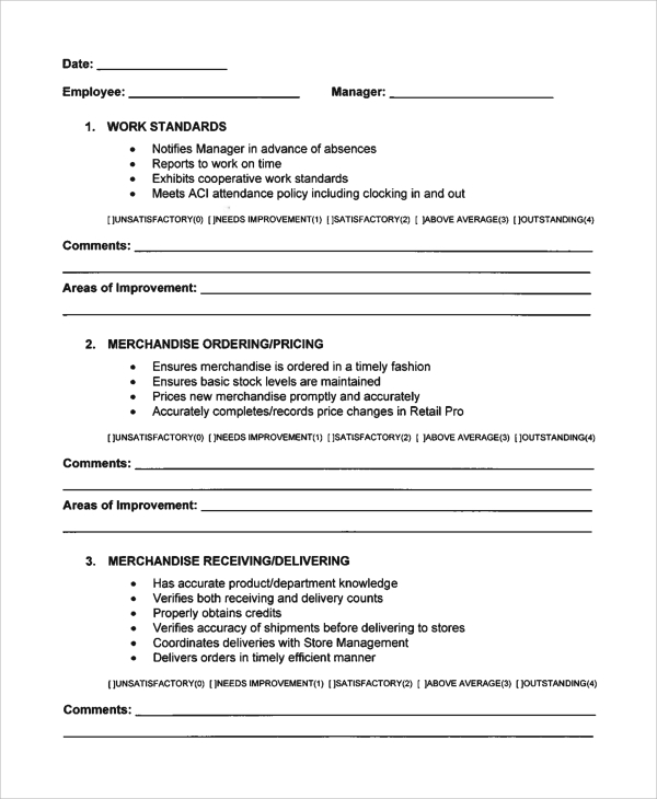 Sample Employee Evaluation Form   Documents In Word Pdf