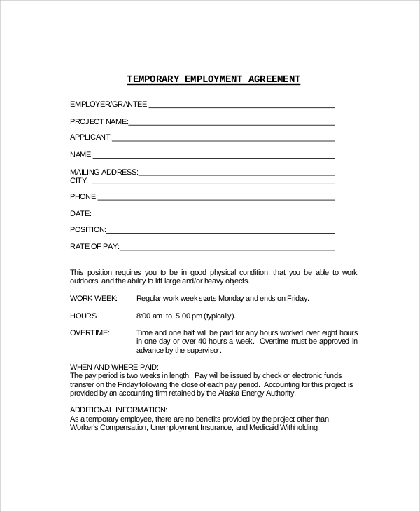 7 sample employment agreements sample templates for Part time employment contract template free