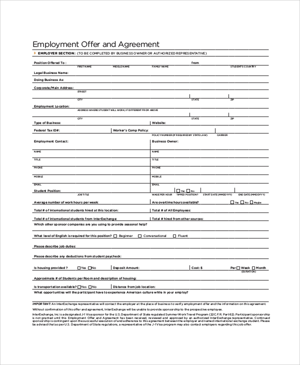 employment offer and agreement form1
