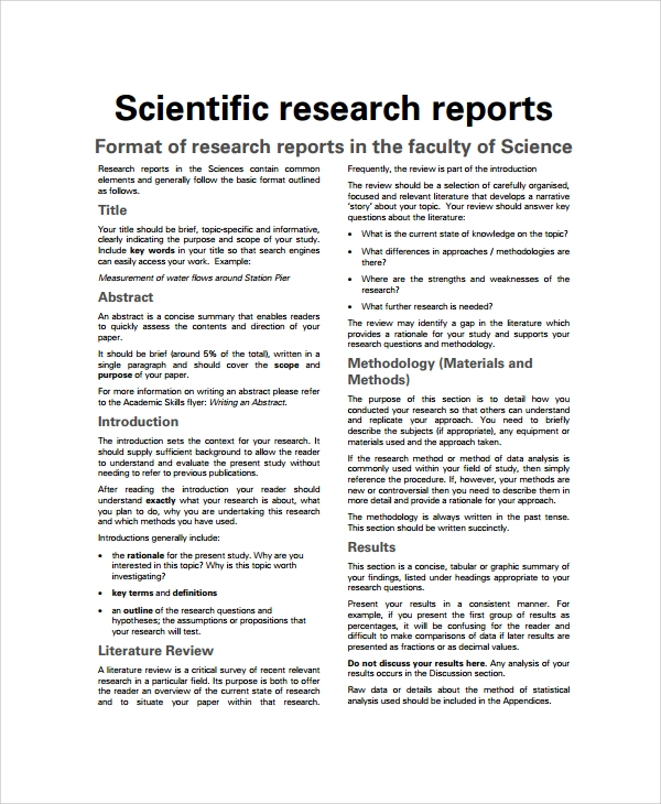 Sample Scientific Report 6 Documents in PDF – Sample Research Report