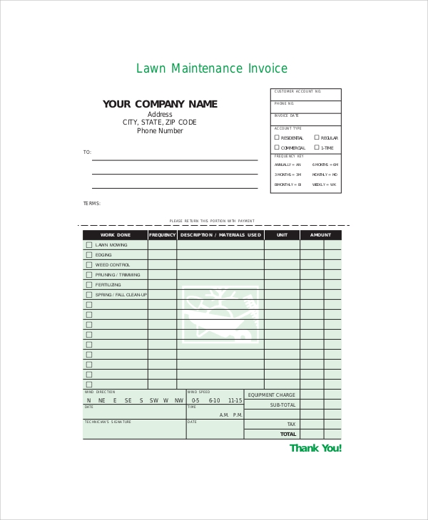Sample Service Invoice Templates Sample Templates - Lawn service invoice template free